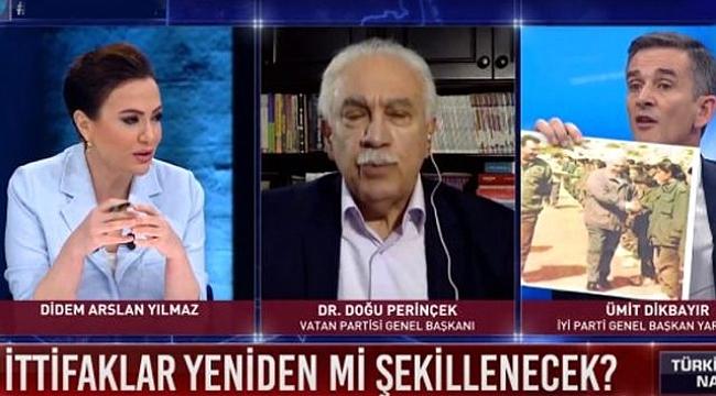 Canlı yayında Perinçek'in gözlerinin içine bakarak Öcalan'la çekilen fotoğraflarını gösterdi.