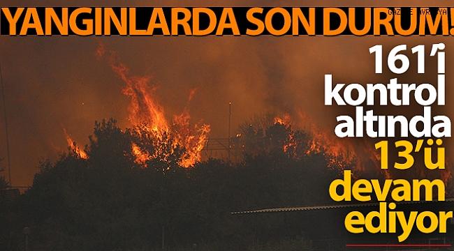 Yangınlarda son durum: 161'i kontrol altında, 13 yangın devam ediyor.